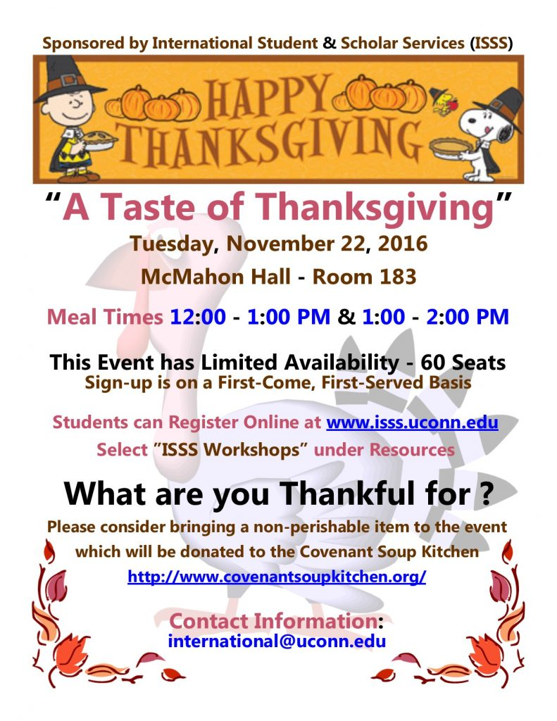 Isss Thanksgiving Luncheon 11 22 Limited Seats Sign Up